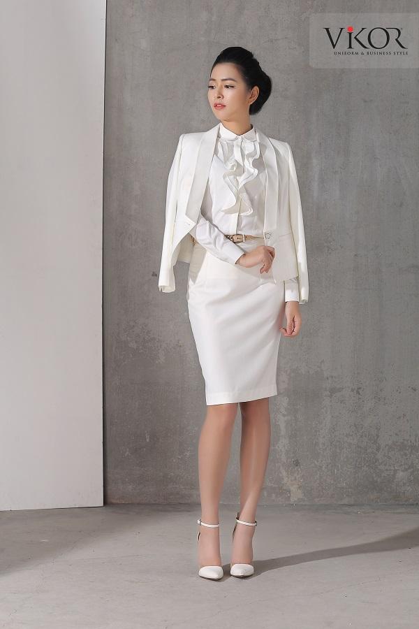 Chân váy nữ VW41203 màu trắng mix cùng vest cùng màu
