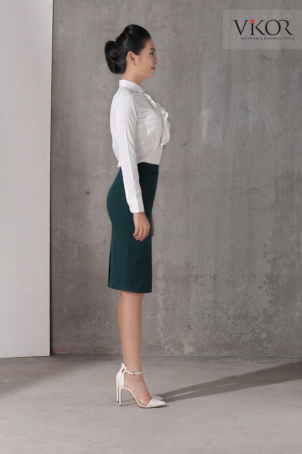 Chân váy nữ VW40110 thời trang khi mix cùng sơ mi trắng và giày cao gót