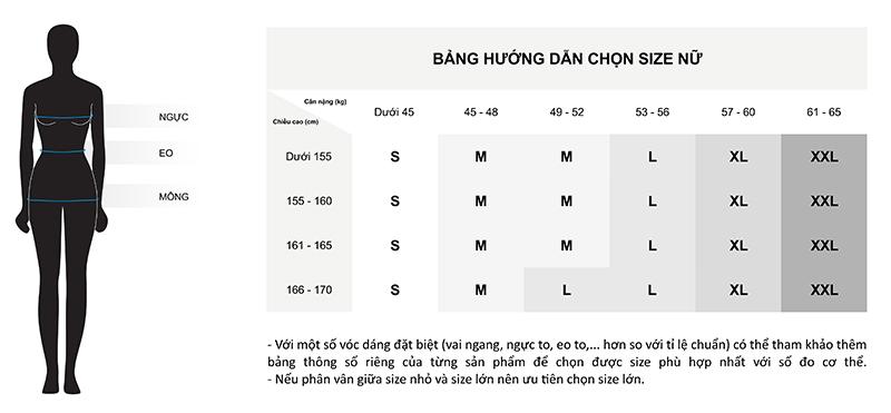 Bảng hướng dẫn chọn size cho nữ theo chiều cao và cân nặng
