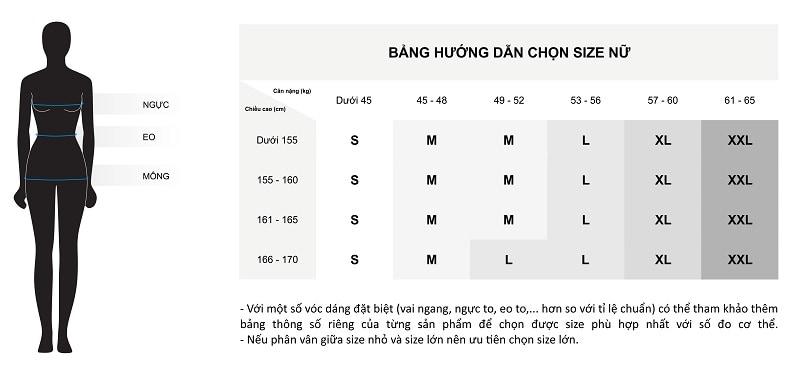 Bảng chi tiết hướng dẫn chọn size