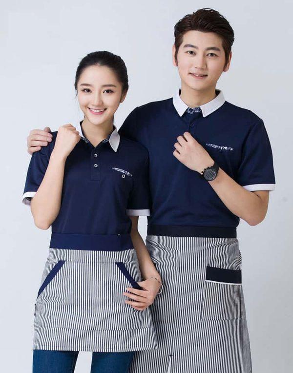 Đồng phục nhà hàng cafe màu xanh