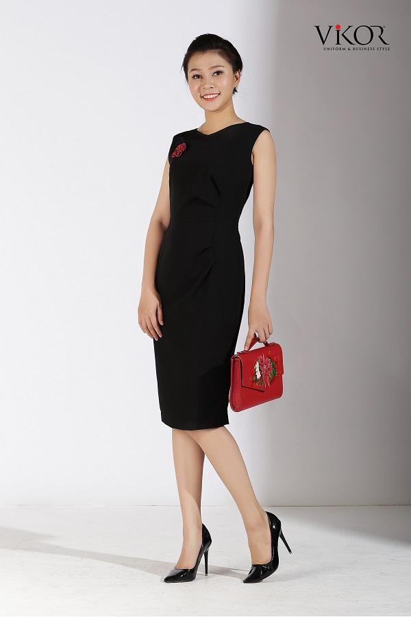 Đầm nữ VW52001 màu đen kết hợp túi xách đỏ