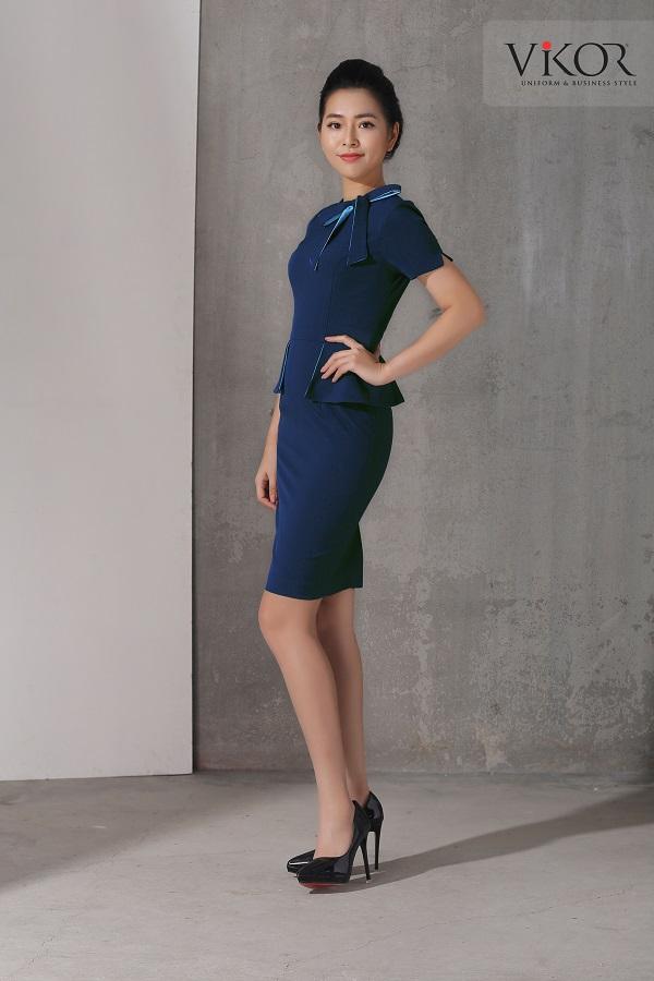 Đầm nữ VW50308 điểm nhấn nơ xanh nổi bật ở cổ áo