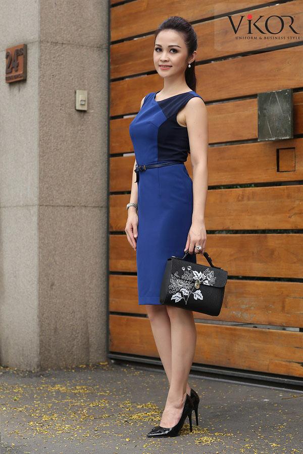 Đầm nữ VW51608 mix thêm thắt lưng để tôn thêm vòng eo