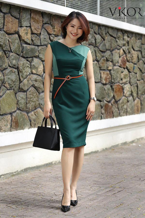 Đầm nữ VW51610 màu xanh rêu