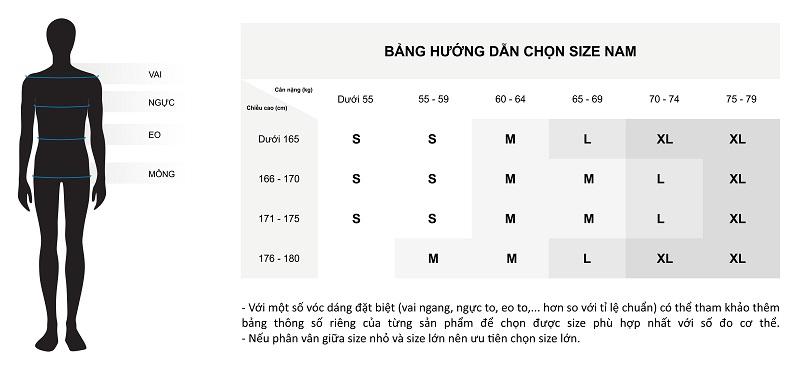 Bảng hướng dẫn cách chọn size áo nam chi tiết