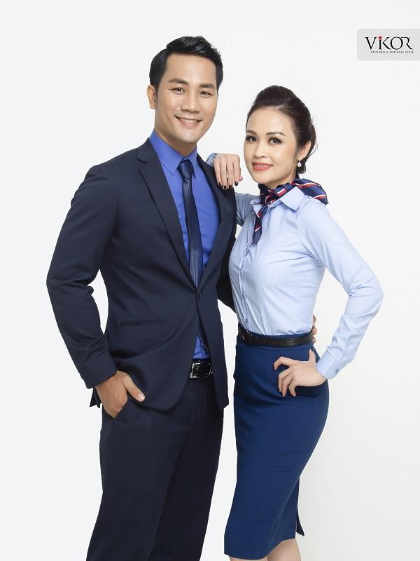 Bộ đôi đồng phục nam nữ công sở xanh
