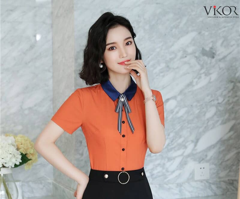 Áo sơ mi đồng phục công sở nữ màu cam