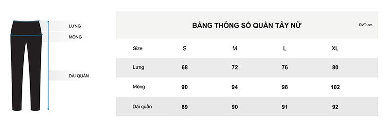 Bảng thông số quần tây chi tiết cho nữ