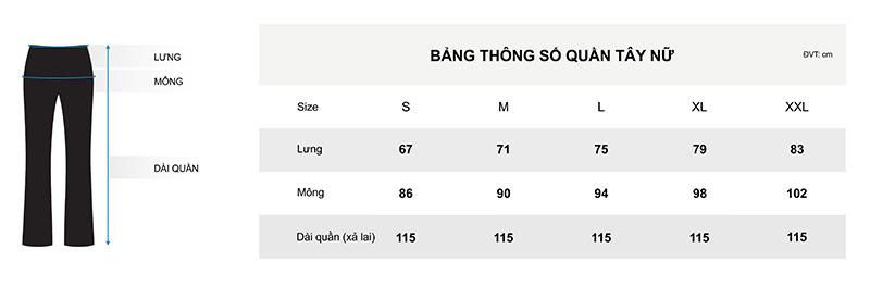 Bảng chi tiết thông số quần tây nữ