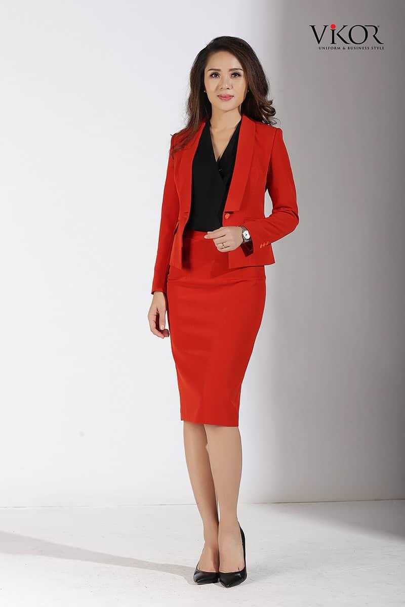 Bộ vest đồng phục công sở nữ màu đỏ cam