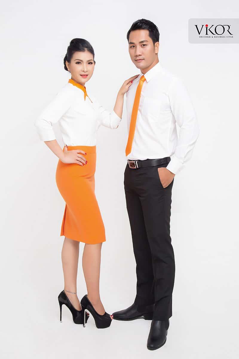 Đồng phục công sở màu cam