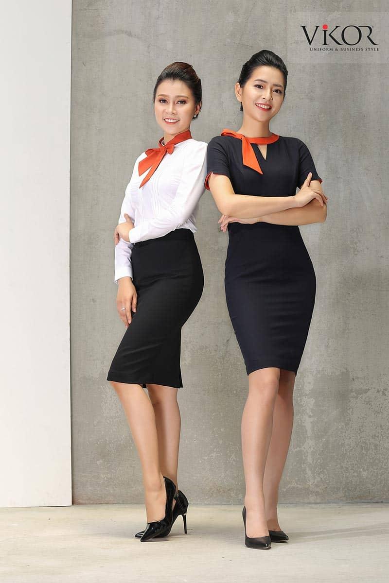 Đồng phục công ty điểm màu cam