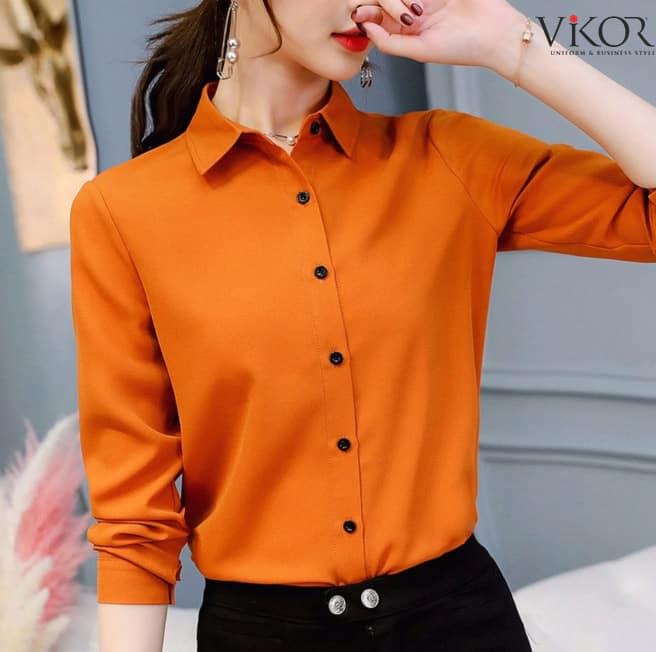 Đồng phục sơ mi nữ màu cam