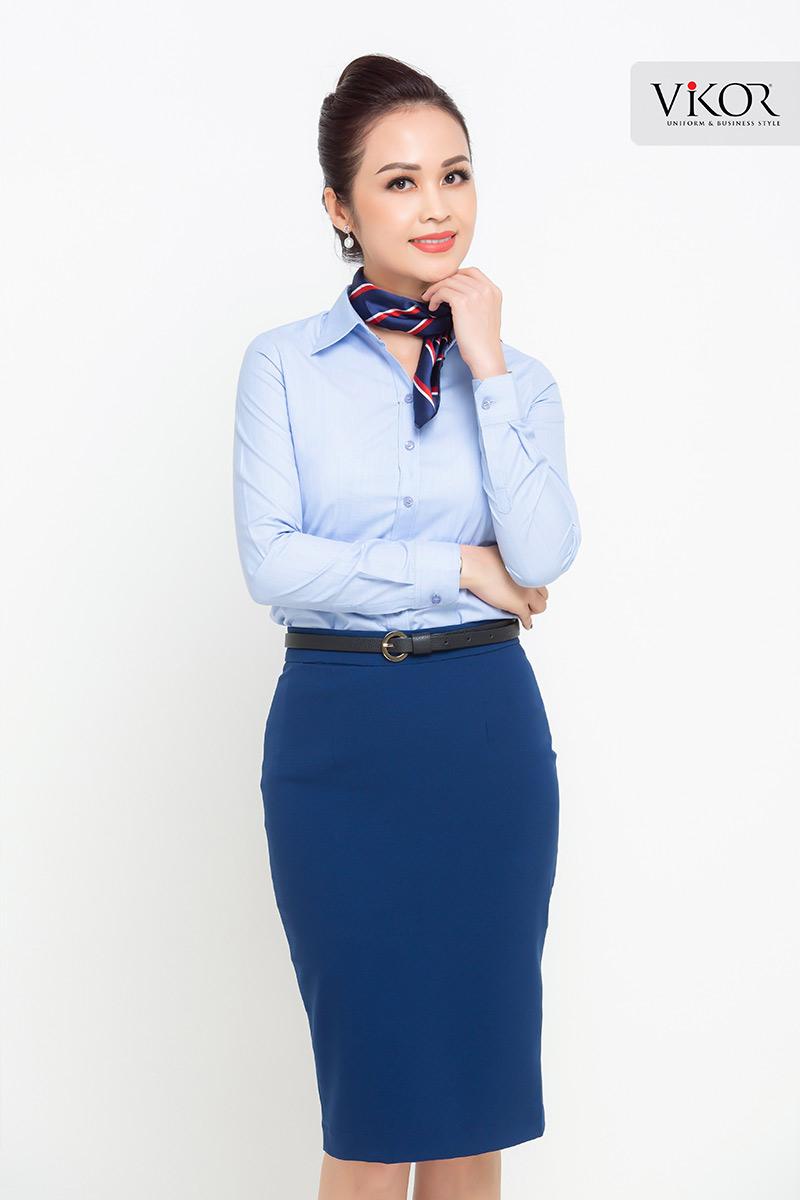 Áo sơ mi nữ đồng phục công sở màu xanh
