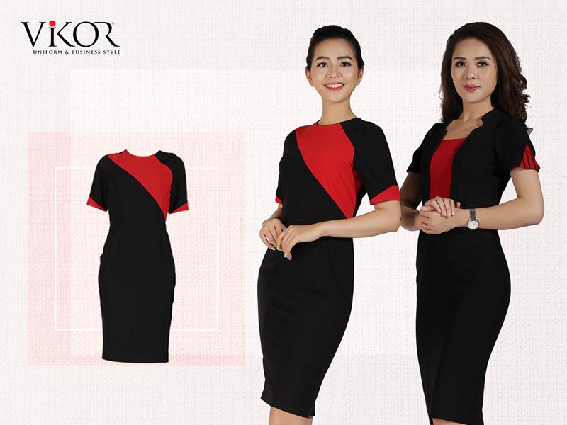 Đầm nữ đen vạt chéo