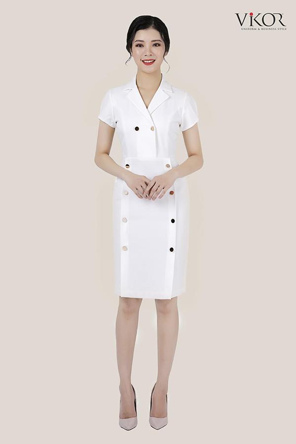 Đầm trắng thiết kế cổ vest