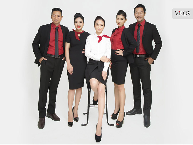 Đồng phục công sở màu đỏ VIKOR