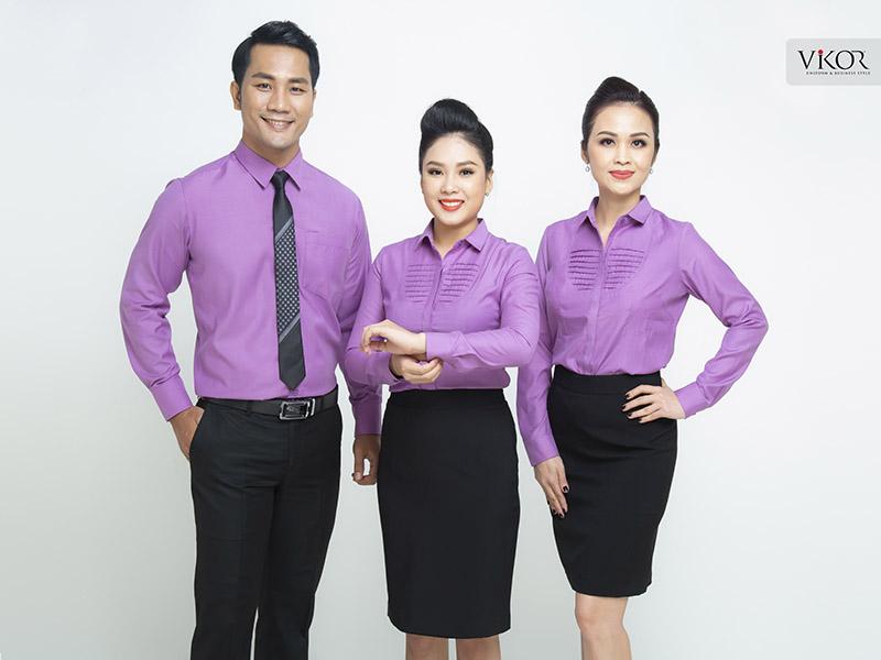 Áo sơ mi đồng phục công sở màu tím