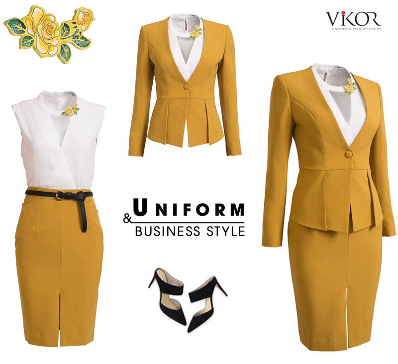 Đồng phục công sở màu vàng nổi bật, phong cách tại VIKOR
