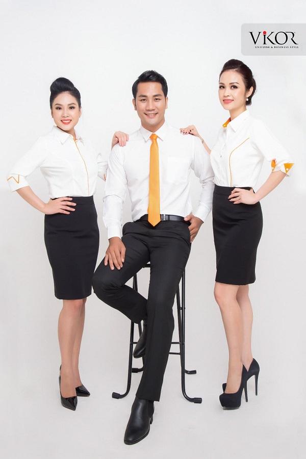 Đồng phục công sở cho nam và nữ viên cam