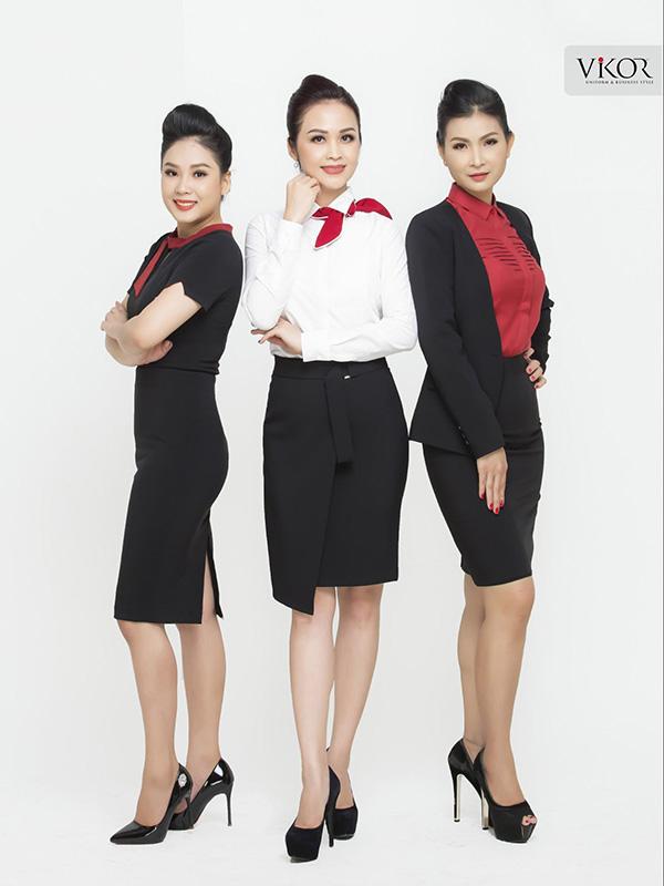 Đồng phục công sở nữ phối đỏ cá tính
