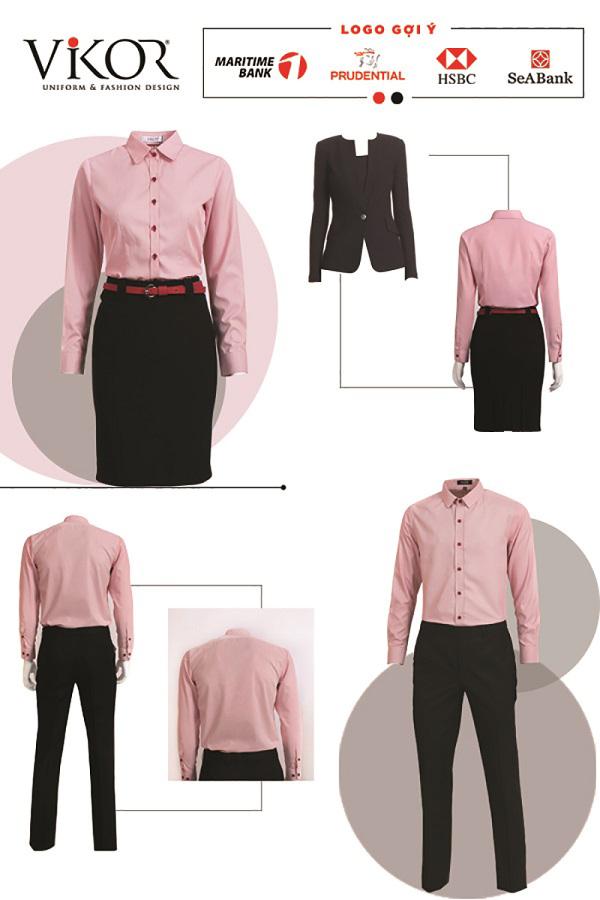 Đồng phục công sở cho nam và nữ màu hồng