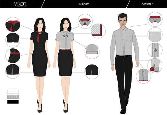 Mẫu thiết kế đồng phục công sở màu đỏ