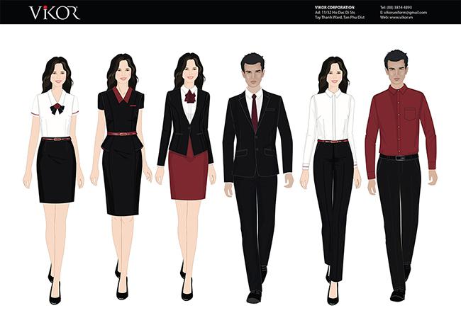 Mẫu thiết kế đồng phục công ty màu đỏ