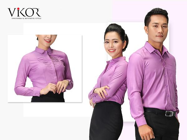 Đồng phục công sở cho nam và nữ màu tím