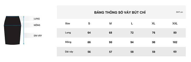 Bảng thông số cho chân váy bút chì
