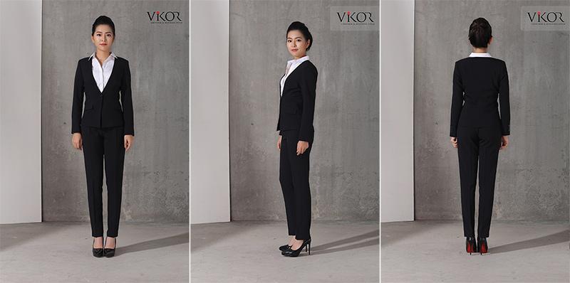 Áo vest đồng phục nữ kết hợp cùng sơ mi và quần tây
