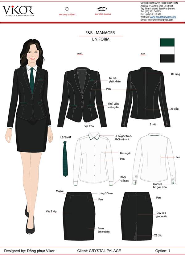 Đồng phục vest nữ tay dài kết hợp ăn nhập với chân váy ngắn