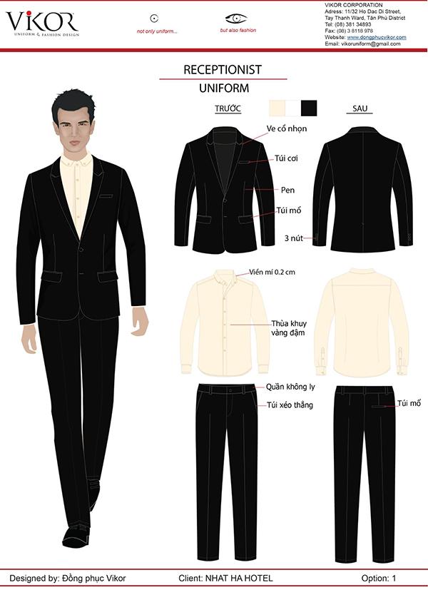 Đồng phục lễ tân nam khách sạn màu đen phối cùng sơ mi trắng
