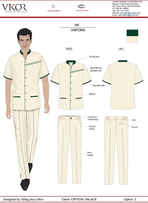 đồng phục nhân viên buồng phòng nam màu trắng viền xanh