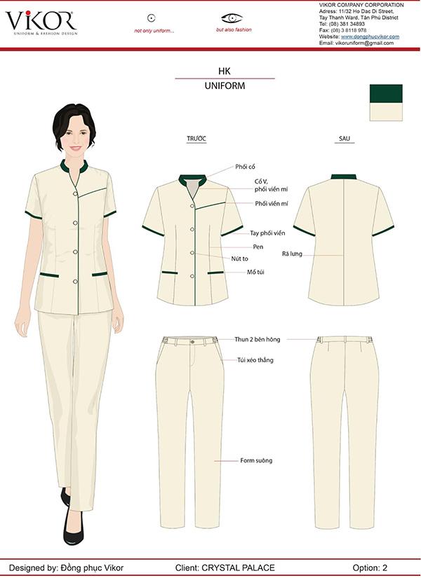 Đồng phục màu trắng viền xanh cho nhân viên buồng phòng