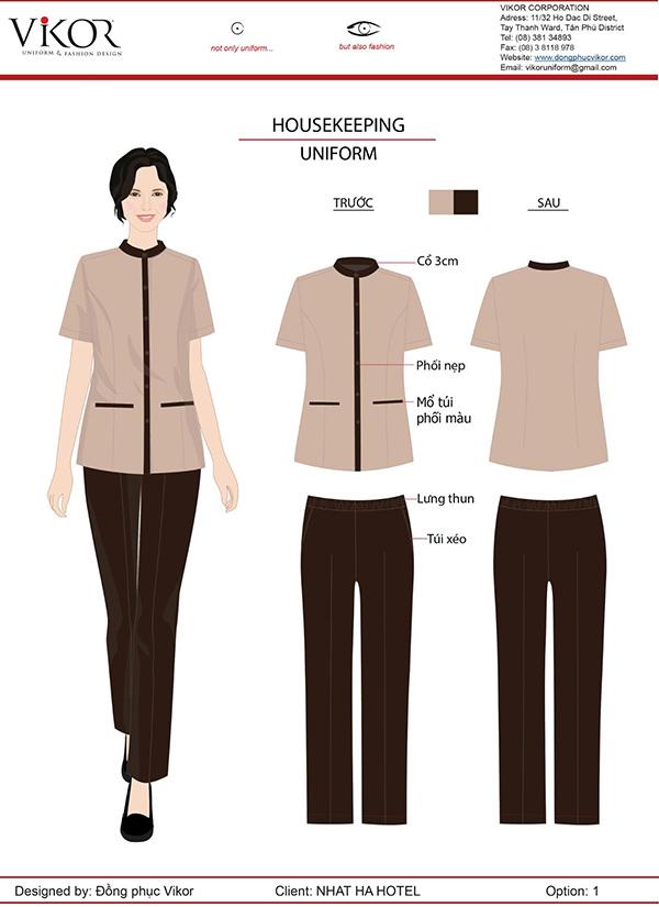 Đồng phục nhân viên buồng phòng áo ngắn tay mix cùng quần dài