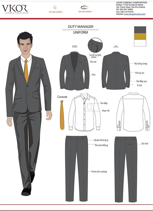 Đồng phục quản lý khách sạn màu đen mix cùng caravat màu vàng