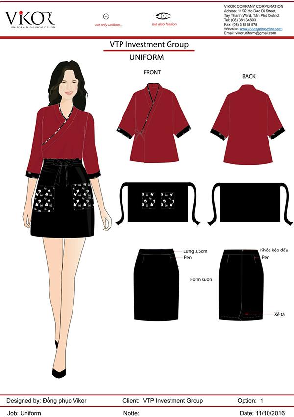 Đồng phục của nhân viên spa màu đỏ kết hợp với chân váy đen có họa tiết màu trắng