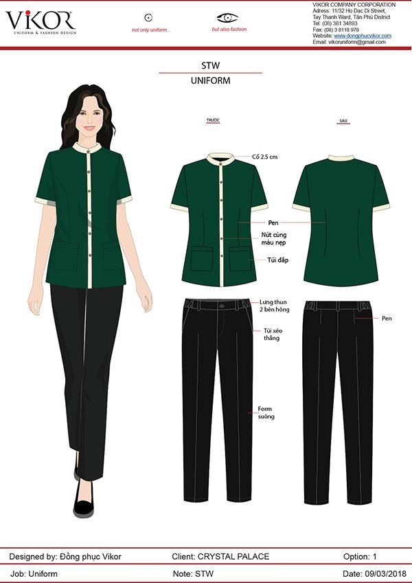 Đồng phục xanh lá cây kết hợp với quần vải thoải mái