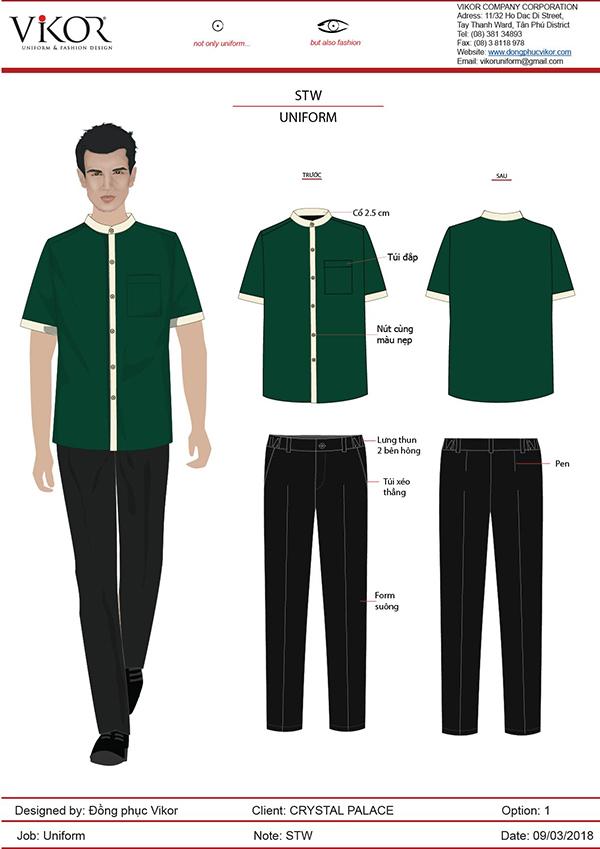 Đồng phục spa xanh lá rộng rãi