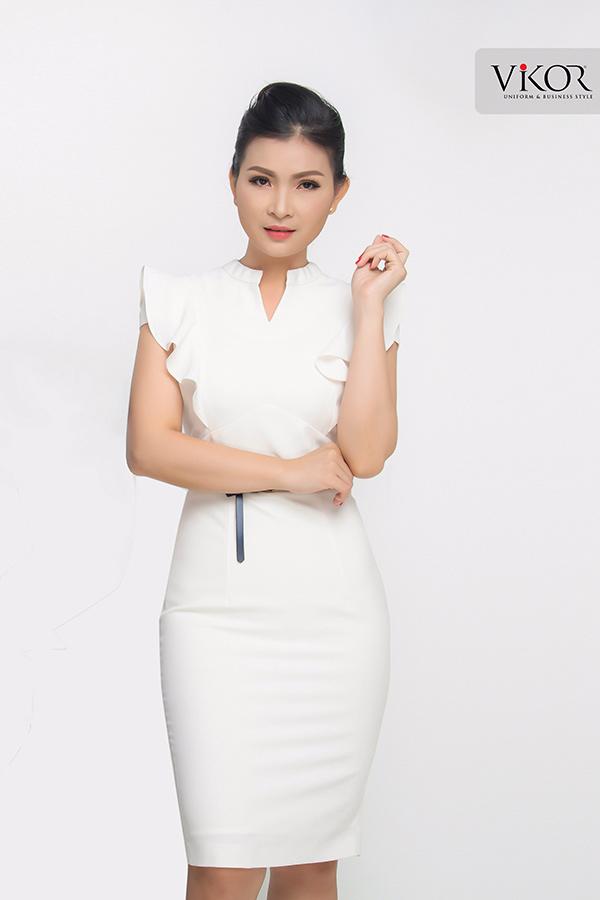 Đồng phục công ty mẫu 012 đầm nữ trắng