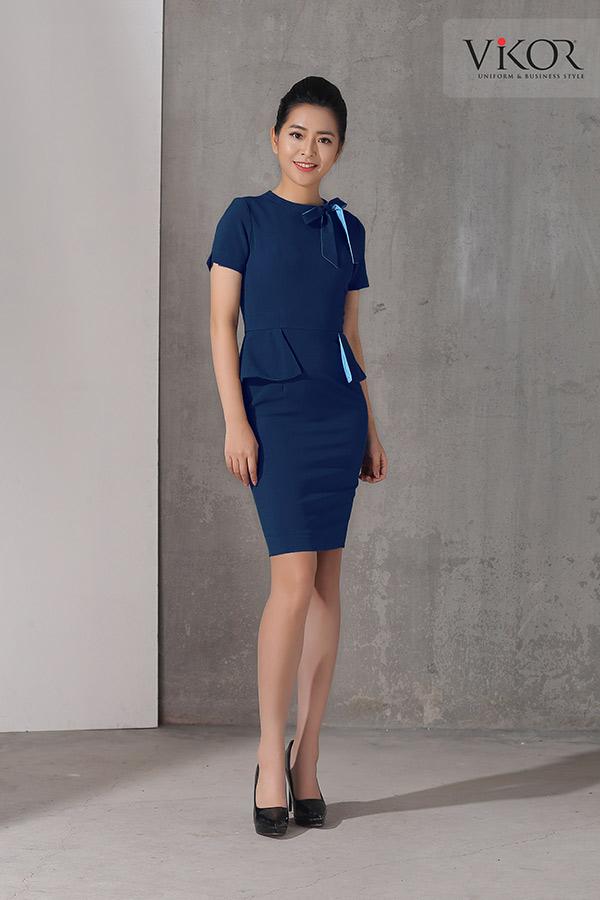 Đồng phục công ty mẫu 012 đầm nữ xanh