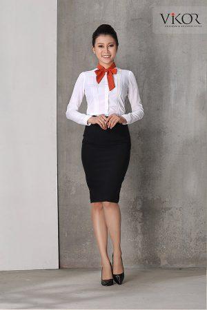 Đồng phục công ty mẫu 022 chân váy sơ mi
