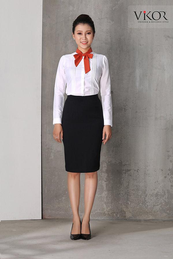 Đồng phục công ty mẫu 022 chân váy sơ mi đẹp