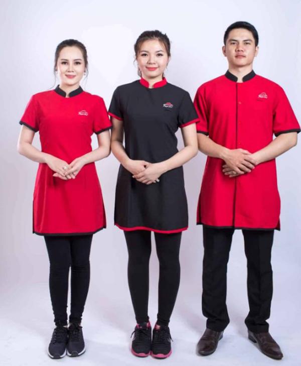 Áo đồng phục nhân viên phục vụ phối viền cổ, tay và tà áo