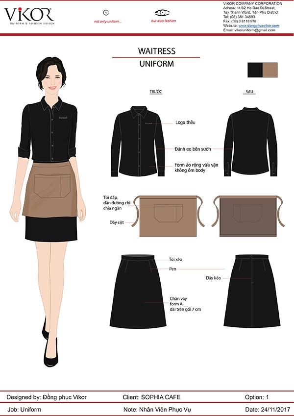 Thiết kế áo sơ mi và chân váy đen
