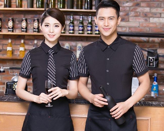 Đồng phục nhà hàng khách sạn với tay áo kẻ và caravat