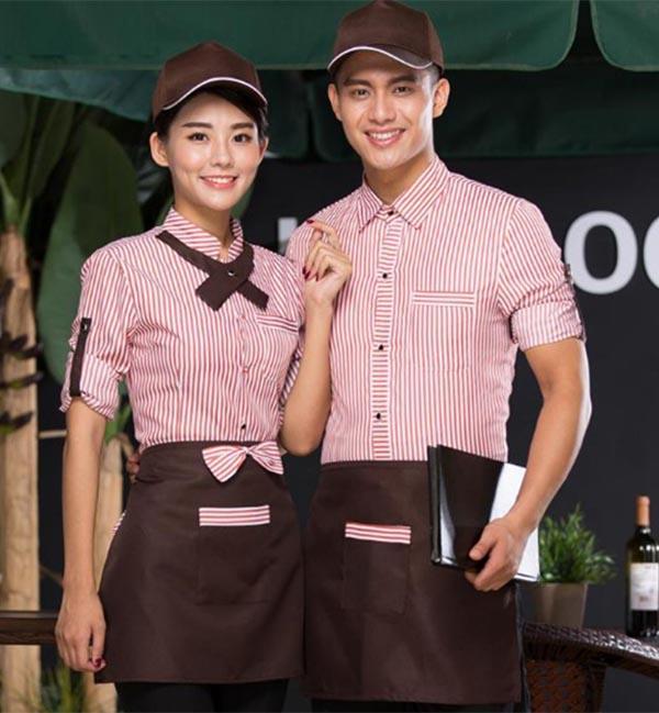 Đồng phục nhà hàng khách sạn họa tiết kẻ sọc