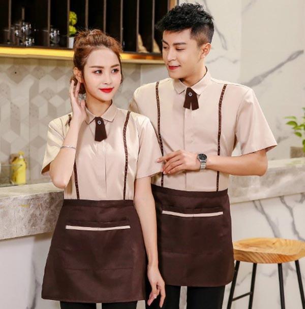 Đồng phục nhân viên nhà hàng màu nâu
